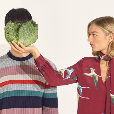 Ted Baker - cabbage in front of person's face with model