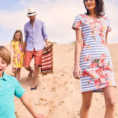 Joules SS19 people frolicking on the beach